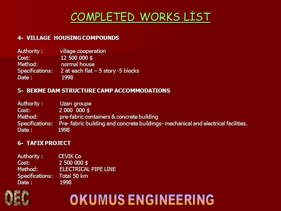 COMPLETED WORKS LİST 4- VILLAGE HOUSING COMPOUNDS
