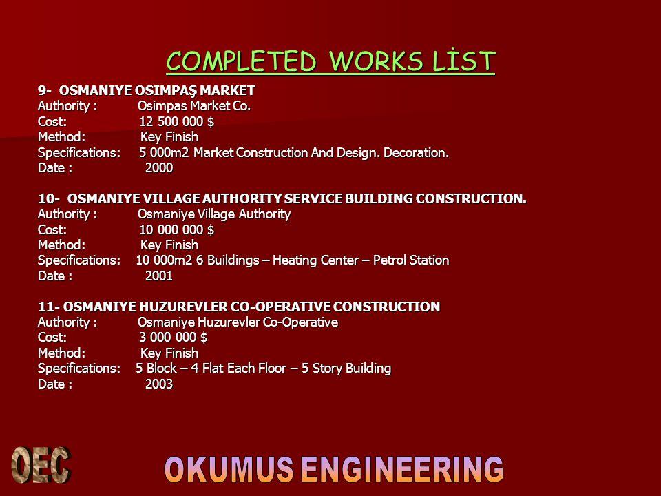 COMPLETED WORKS LİST 9- OSMANIYE OSIMPAŞ MARKET