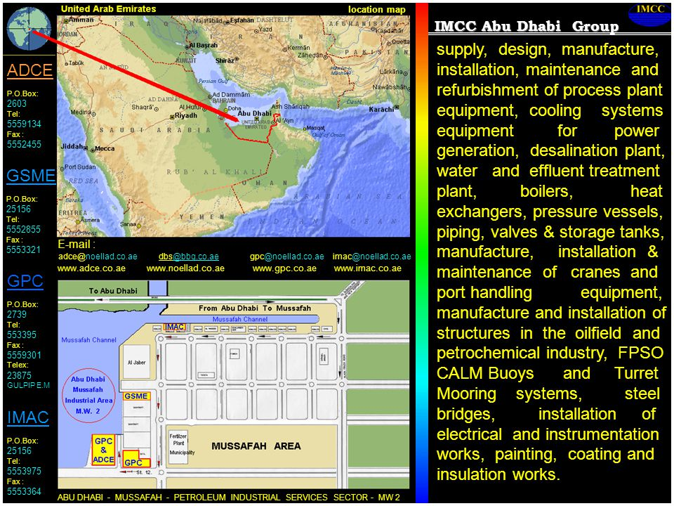 location map IMCC Abu Dhabi Group.