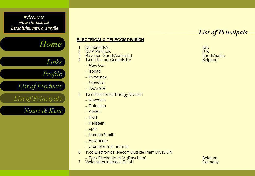 List of Principals ELECTRICAL & TELECOM DIVISION 1 Cembre SPA Italy 2