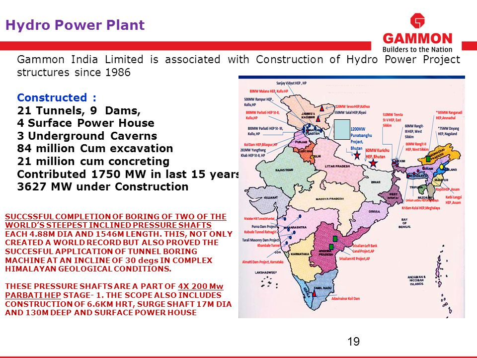 Hydro Power Plant Gammon India Limited is associated with Construction of Hydro Power Project structures since 1986.