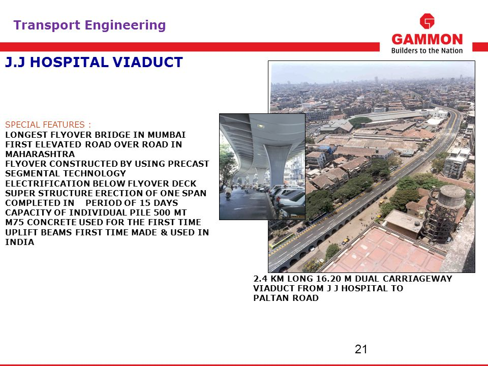 J.J HOSPITAL VIADUCT 2121 Transport Engineering SPECIAL FEATURES :