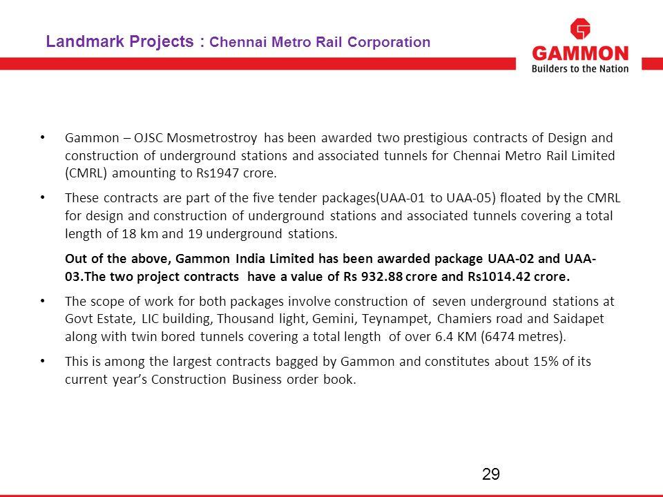 Landmark Projects : Chennai Metro Rail Corporation