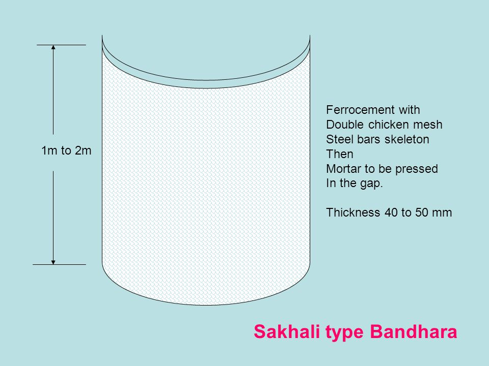 Sakhali type Bandhara Ferrocement with Double chicken mesh