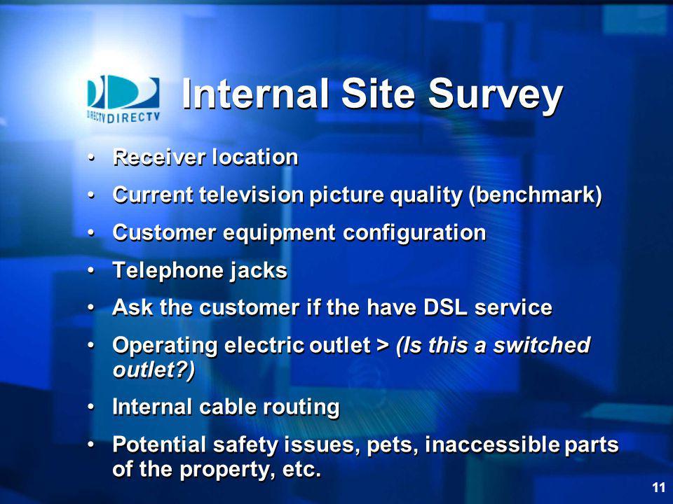 Internal Site Survey Receiver location