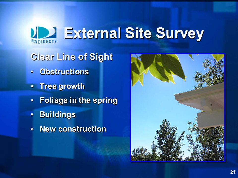 External Site Survey Clear Line of Sight Obstructions Tree growth