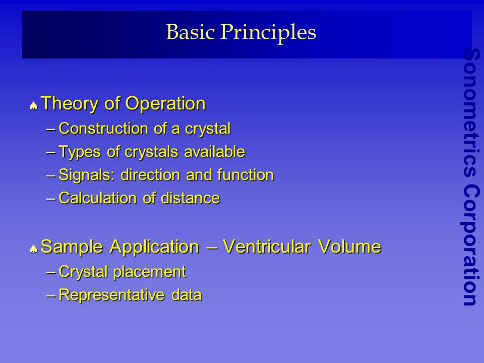 Basic Principles Theory of Operation