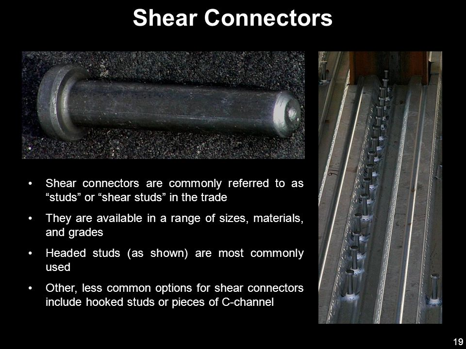 Shear Connectors Shear connectors are commonly referred to as studs or shear studs in the trade.