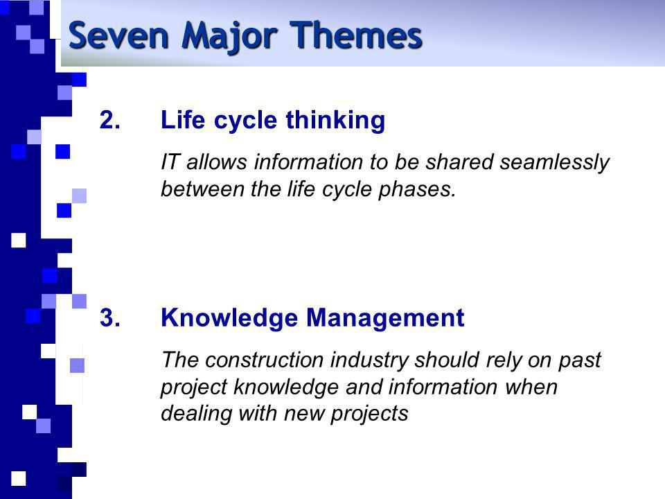 Seven Major Themes Life cycle thinking IT allows information to be shared seamlessly between the life cycle phases.