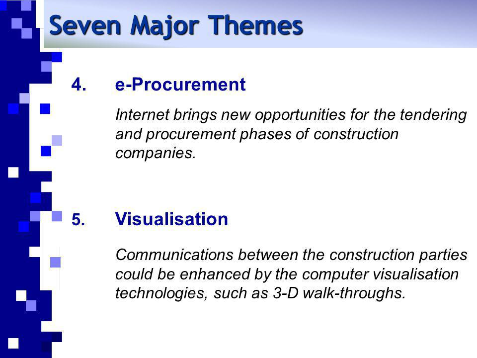 Seven Major Themes e-Procurement Internet brings new opportunities for the tendering and procurement phases of construction companies.