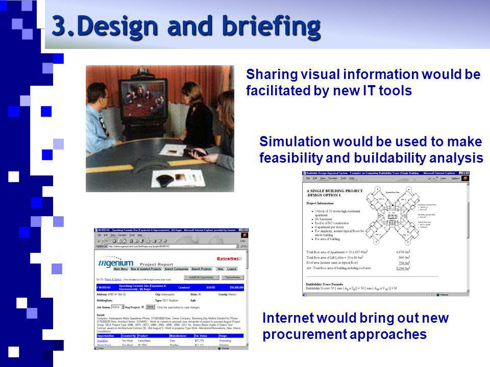 Design and briefing Sharing visual information would be facilitated by new IT tools.