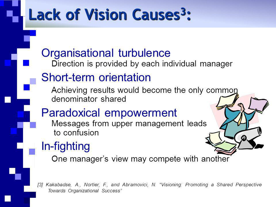Lack of Vision Causes3: Organisational turbulence