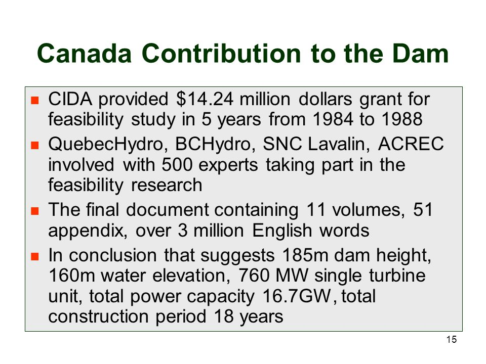 Canada Contribution to the Dam