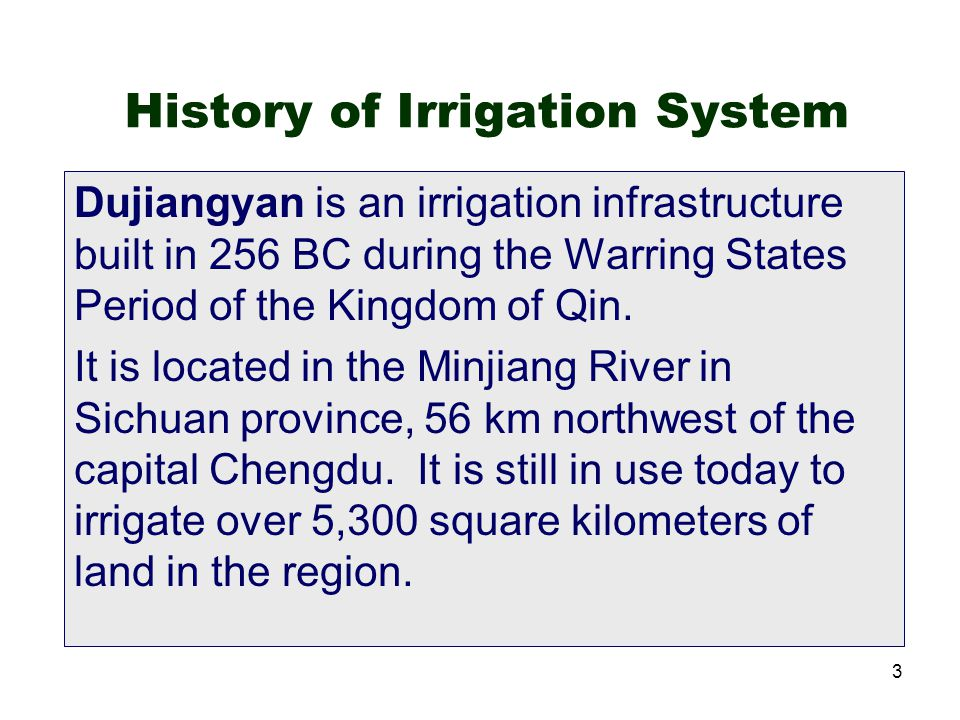 History of Irrigation System