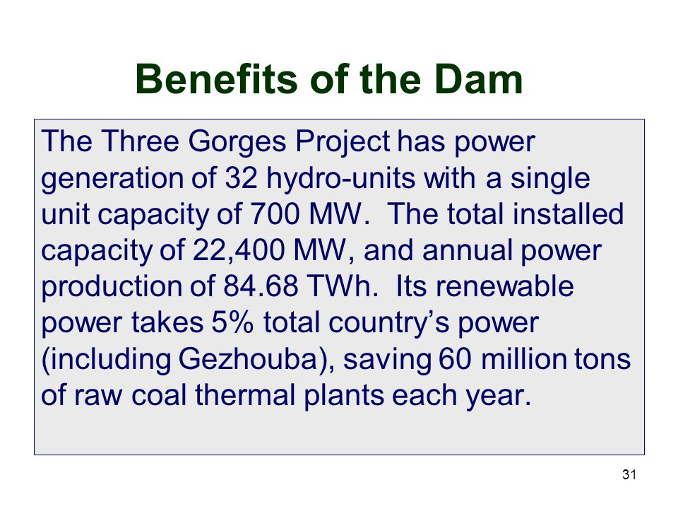 Benefits of the Dam
