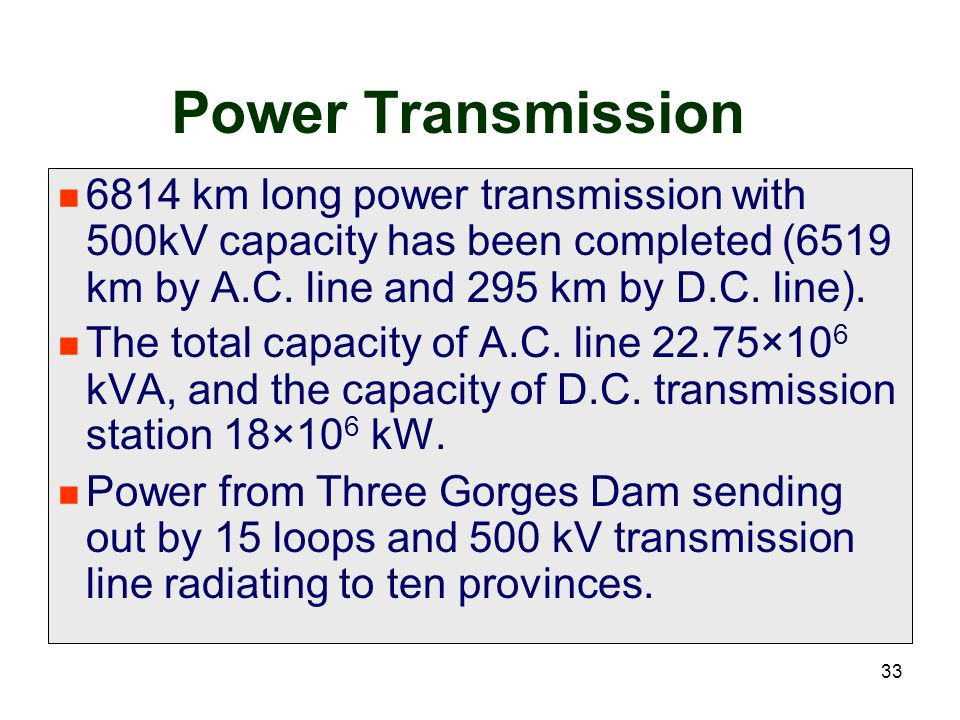 Power Transmission 6814 km long power transmission with 500kV capacity has been completed (6519 km by A.C. line and 295 km by D.C. line).
