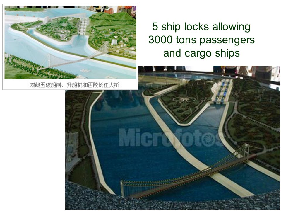 5 ship locks allowing 3000 tons passengers and cargo ships