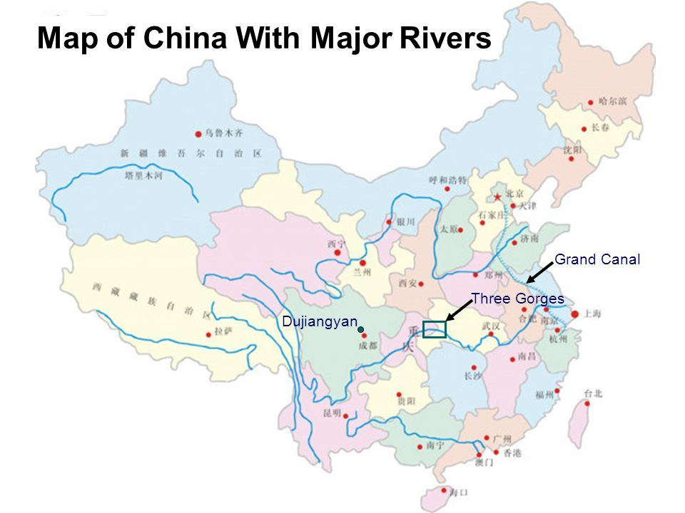 Map of China With Major Rivers