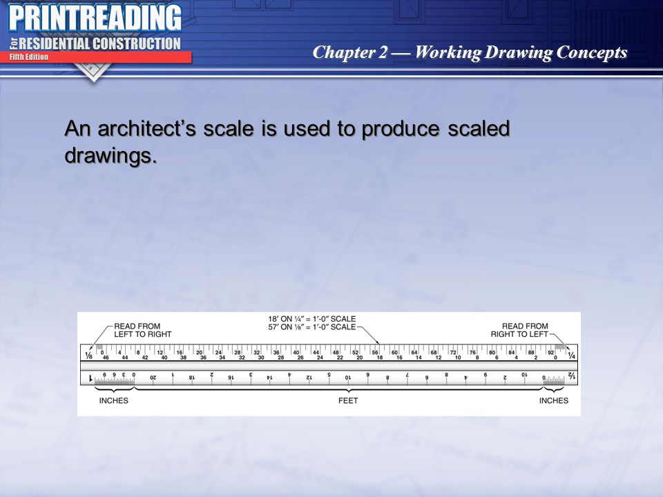 An architect's scale is used to produce scaled drawings.