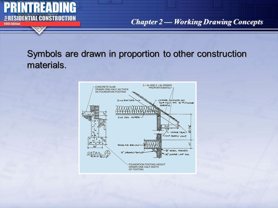 Symbols are drawn in proportion to other construction materials.