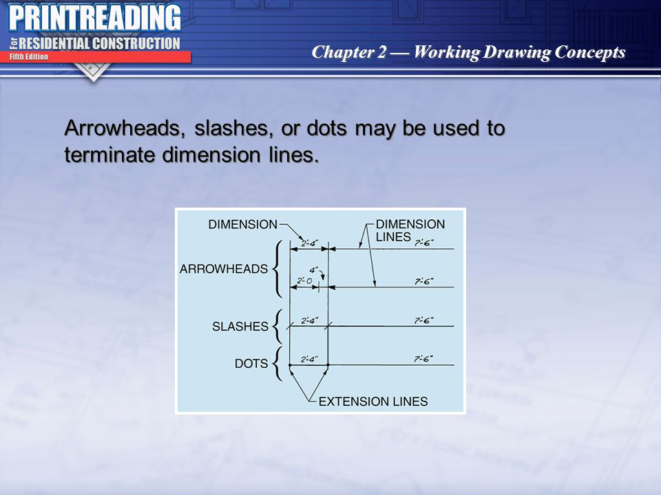 Arrowheads, slashes, or dots may be used to terminate dimension lines.