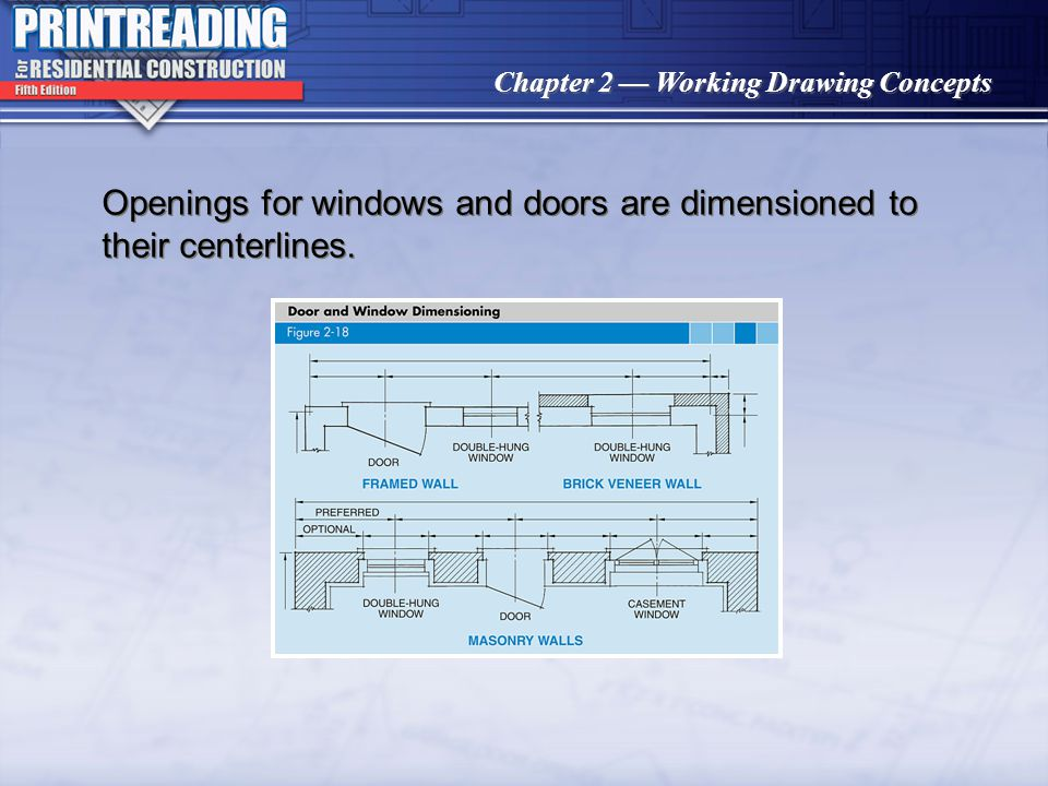 Openings for windows and doors are dimensioned to their centerlines.