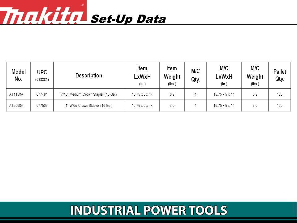 Set-Up Data Model No. UPC Description Item LxWxH Weight M/C Qty.