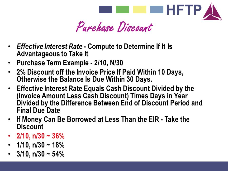 Purchase Discount Effective Interest Rate - Compute to Determine If It Is Advantageous to Take It. Purchase Term Example - 2/10, N/30.