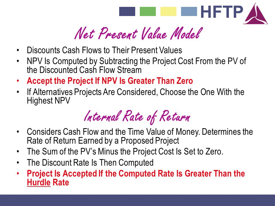 Net Present Value Model Internal Rate of Return