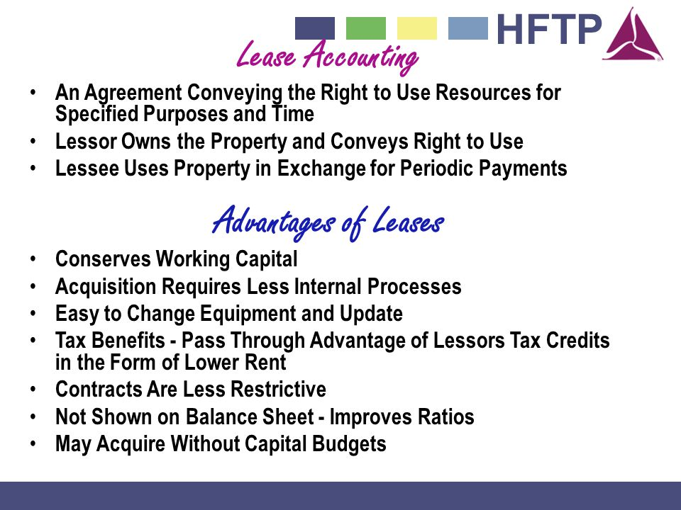 Lease Accounting Advantages of Leases