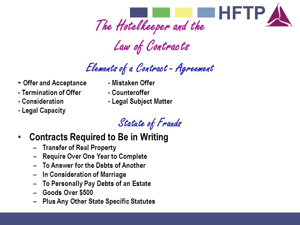 The Hotelkeeper and the Elements of a Contract - Agreement