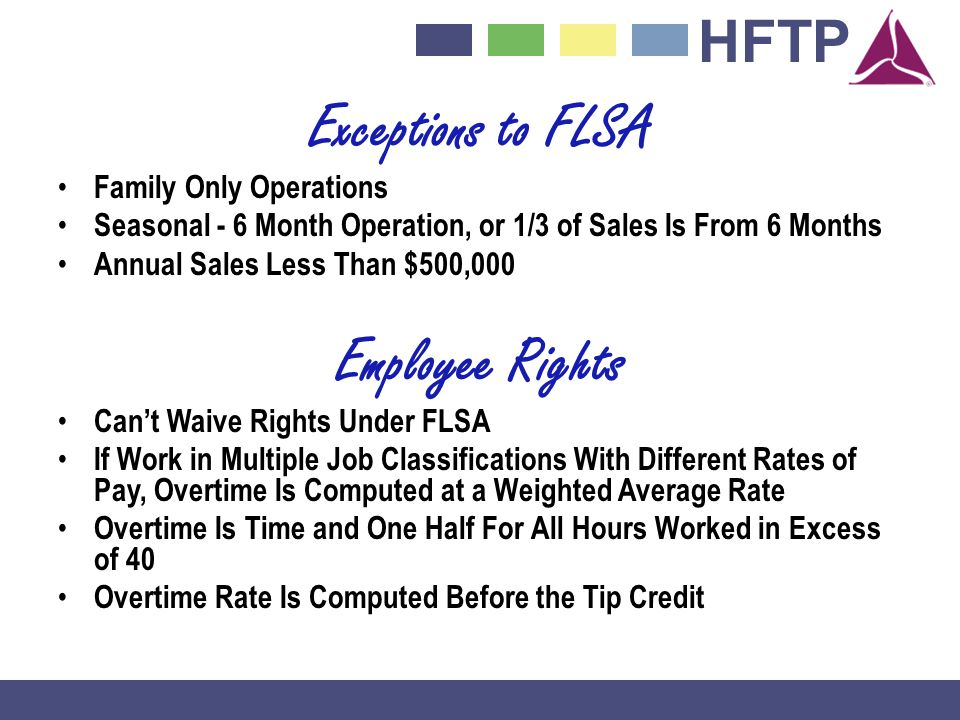 Exceptions to FLSA Employee Rights