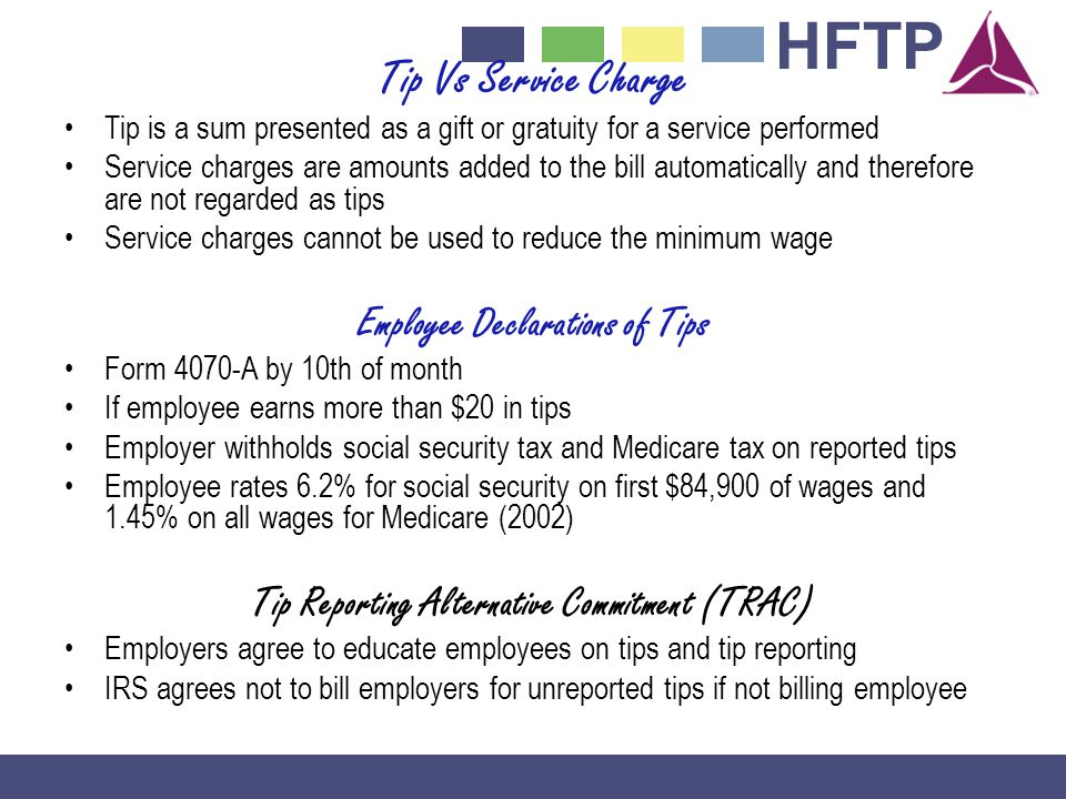 Tip Vs Service Charge Employee Declarations of Tips