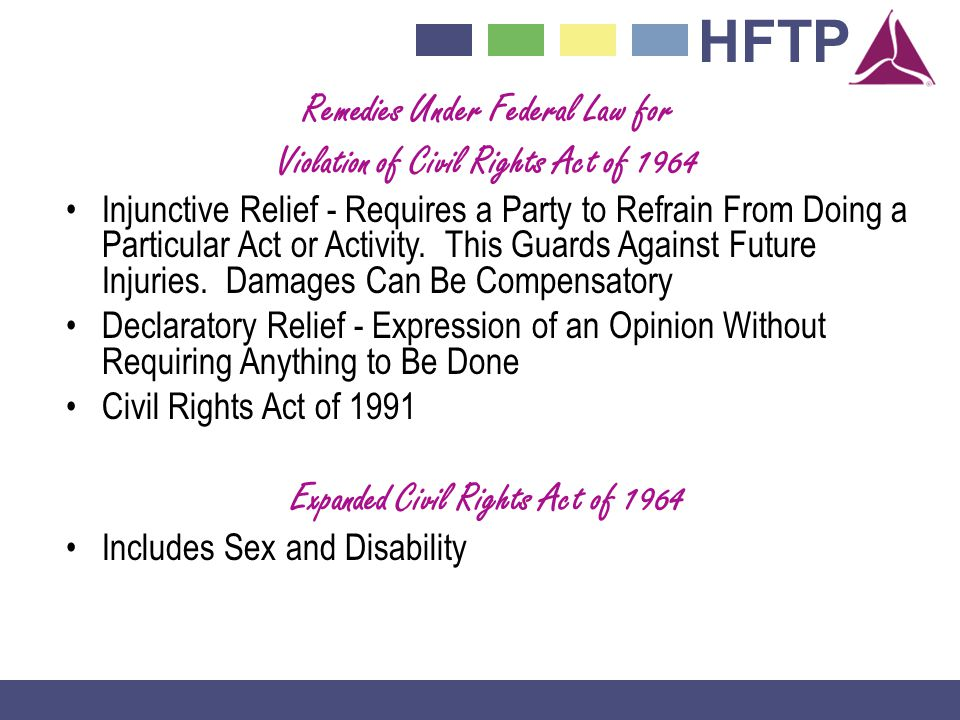 Remedies Under Federal Law for Violation of Civil Rights Act of 1964