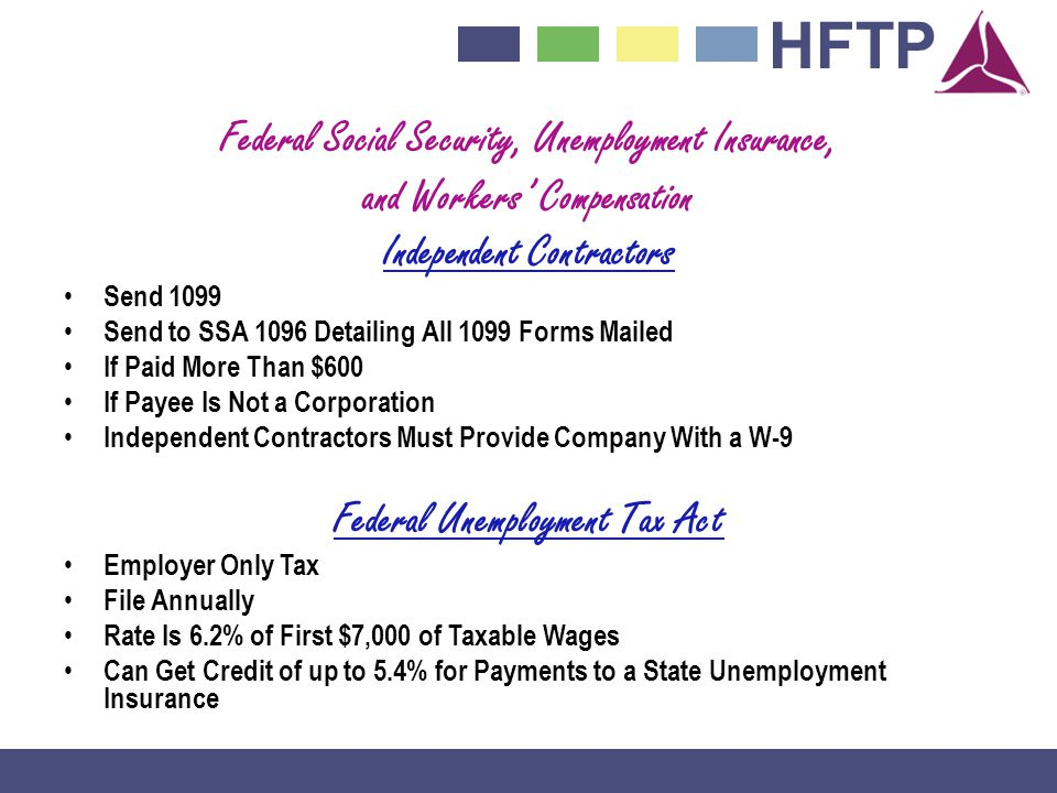 Federal Social Security, Unemployment Insurance,