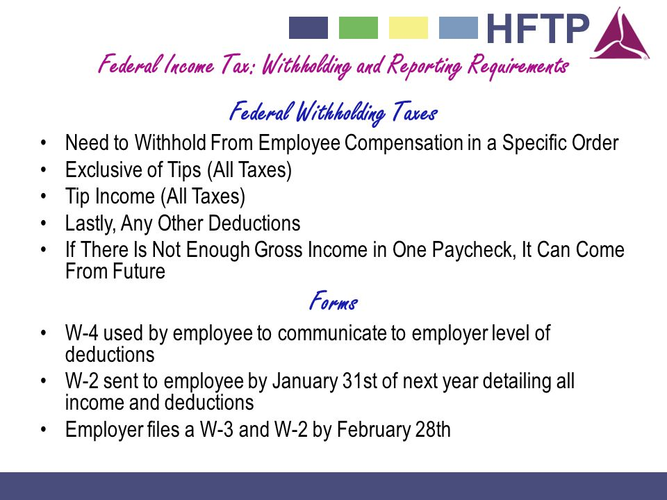 Federal Income Tax: Withholding and Reporting Requirements