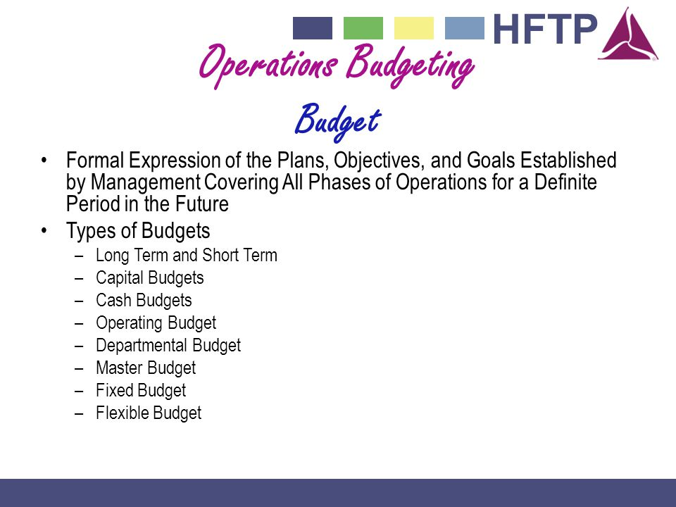 Operations Budgeting Budget