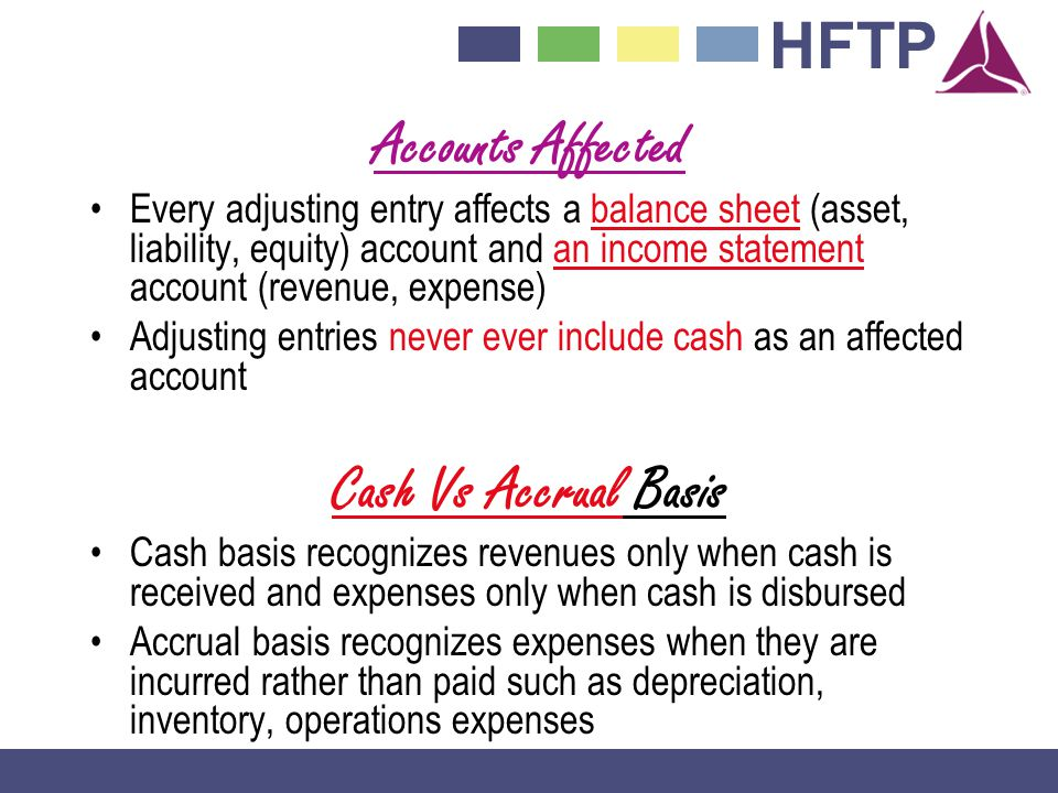 Accounts Affected Cash Vs Accrual Basis