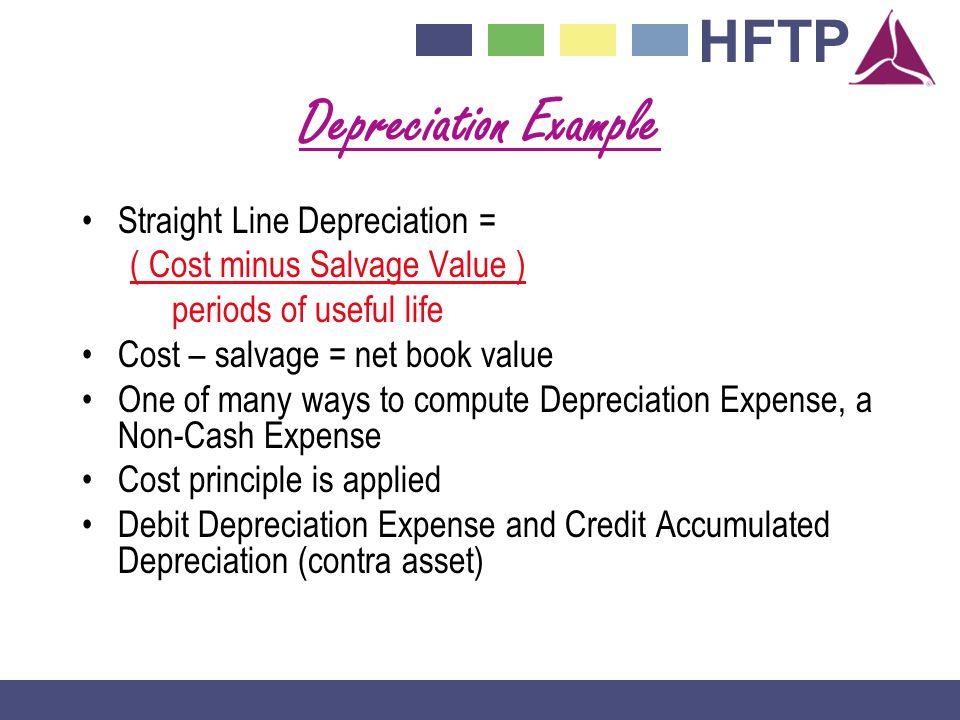 Depreciation Example Straight Line Depreciation =