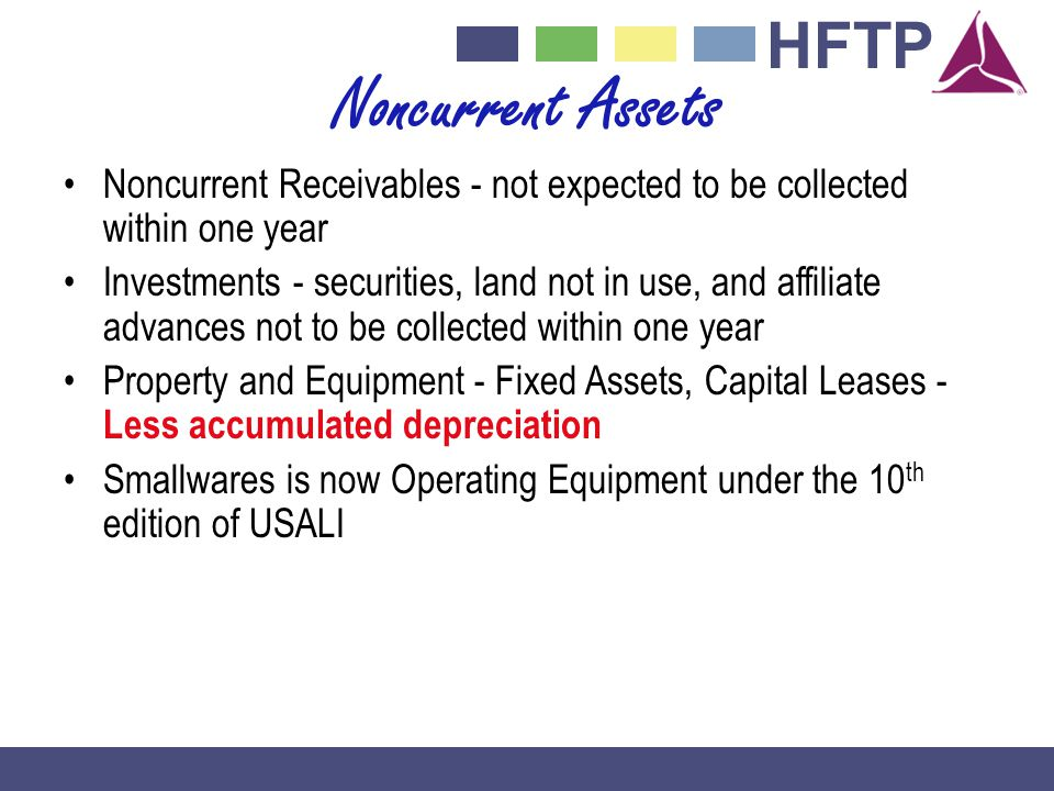 Noncurrent Assets Noncurrent Receivables - not expected to be collected within one year.