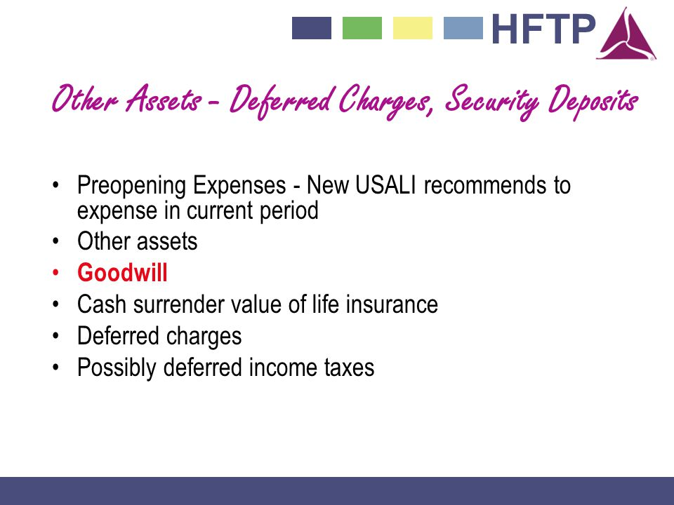 Other Assets - Deferred Charges, Security Deposits
