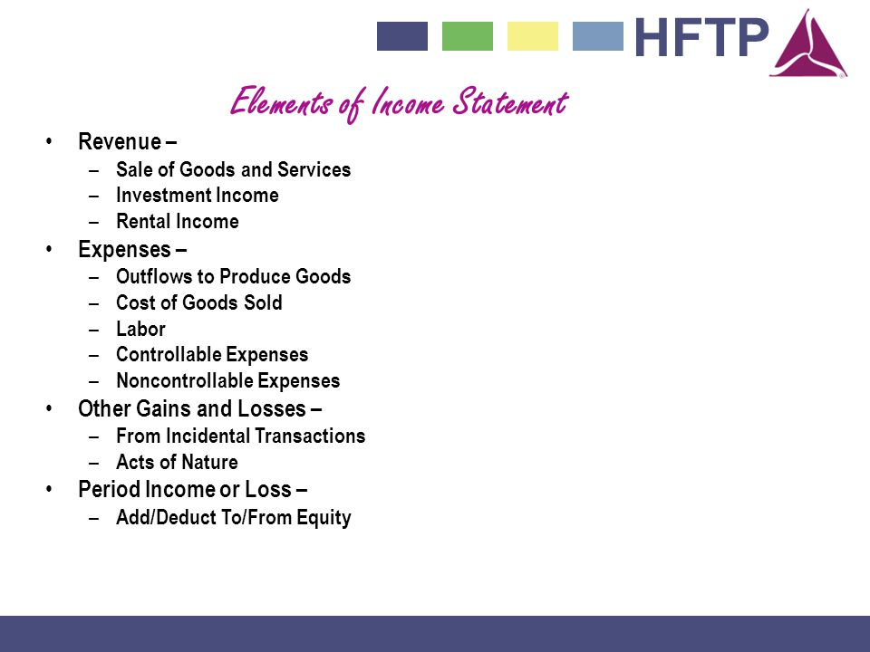 Elements of Income Statement