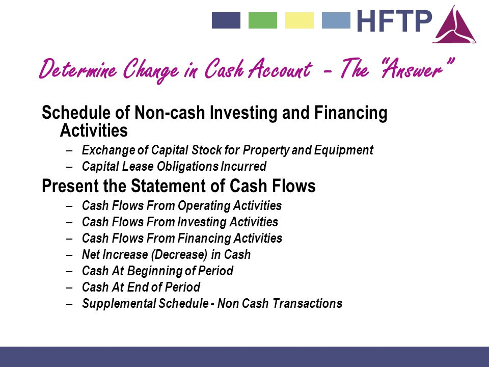 Determine Change in Cash Account - The Answer