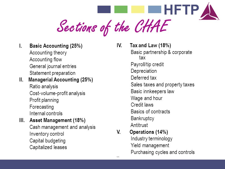 Sections of the CHAE I. Basic Accounting (25%) IV. Tax and Law (18%)