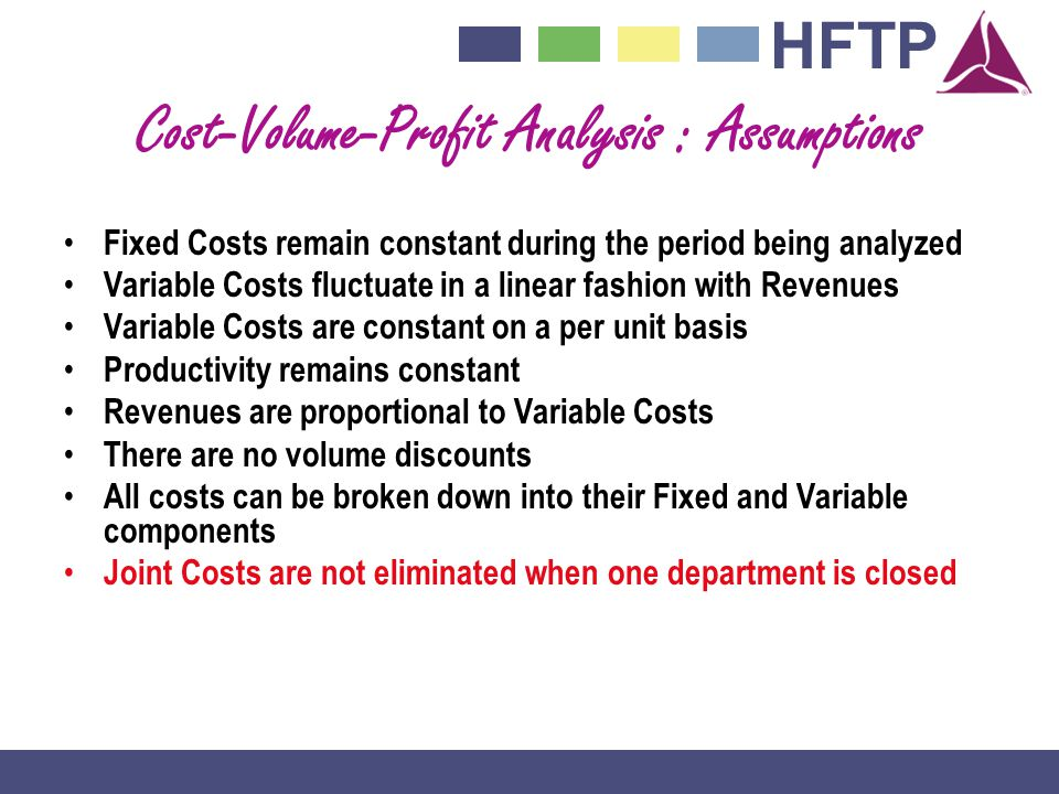 Cost-Volume-Profit Analysis : Assumptions