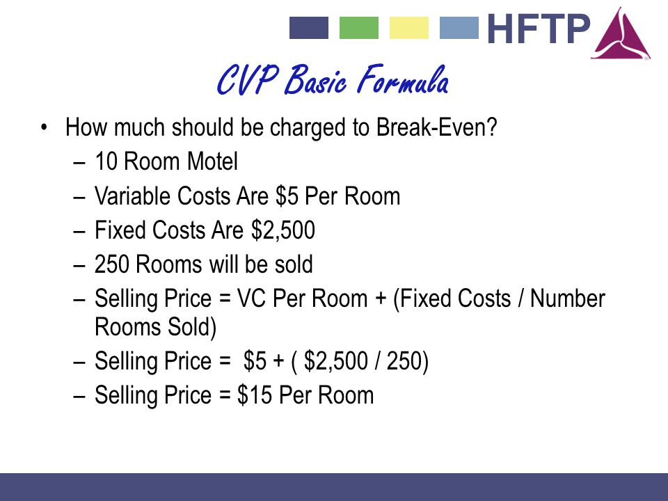 CVP Basic Formula How much should be charged to Break-Even