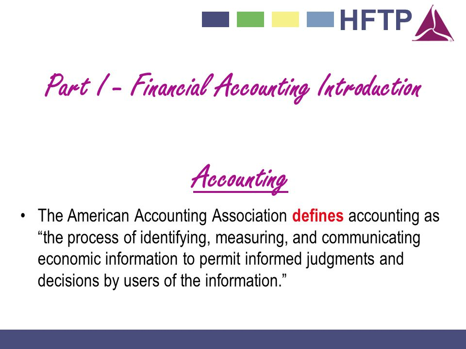 Part I - Financial Accounting Introduction