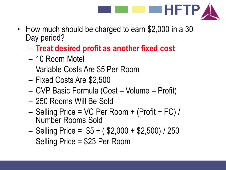How much should be charged to earn $2,000 in a 30 Day period