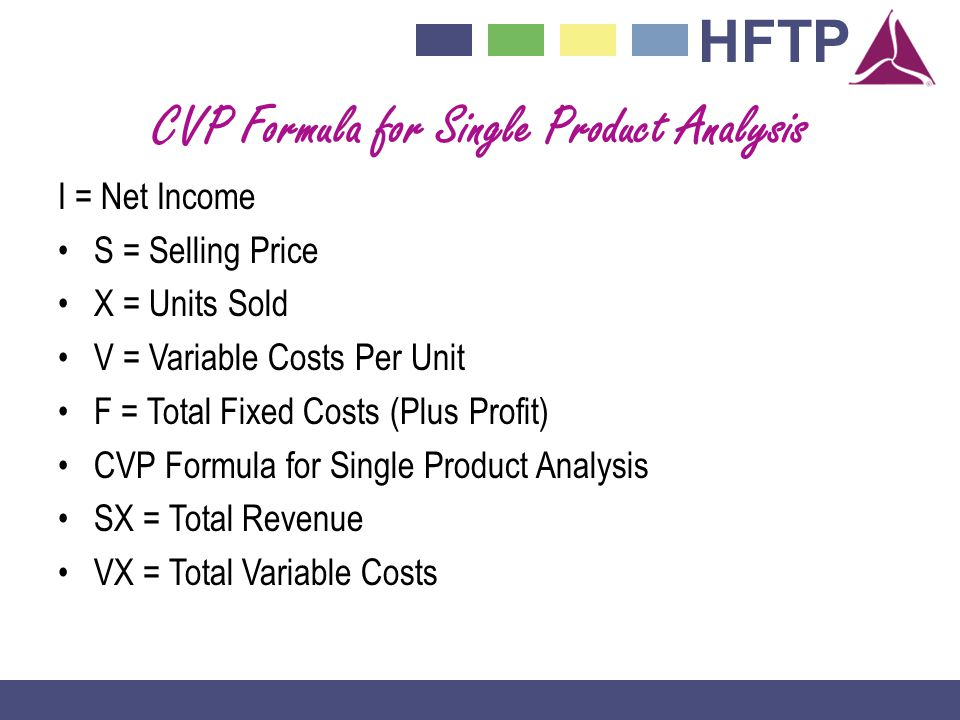CVP Formula for Single Product Analysis