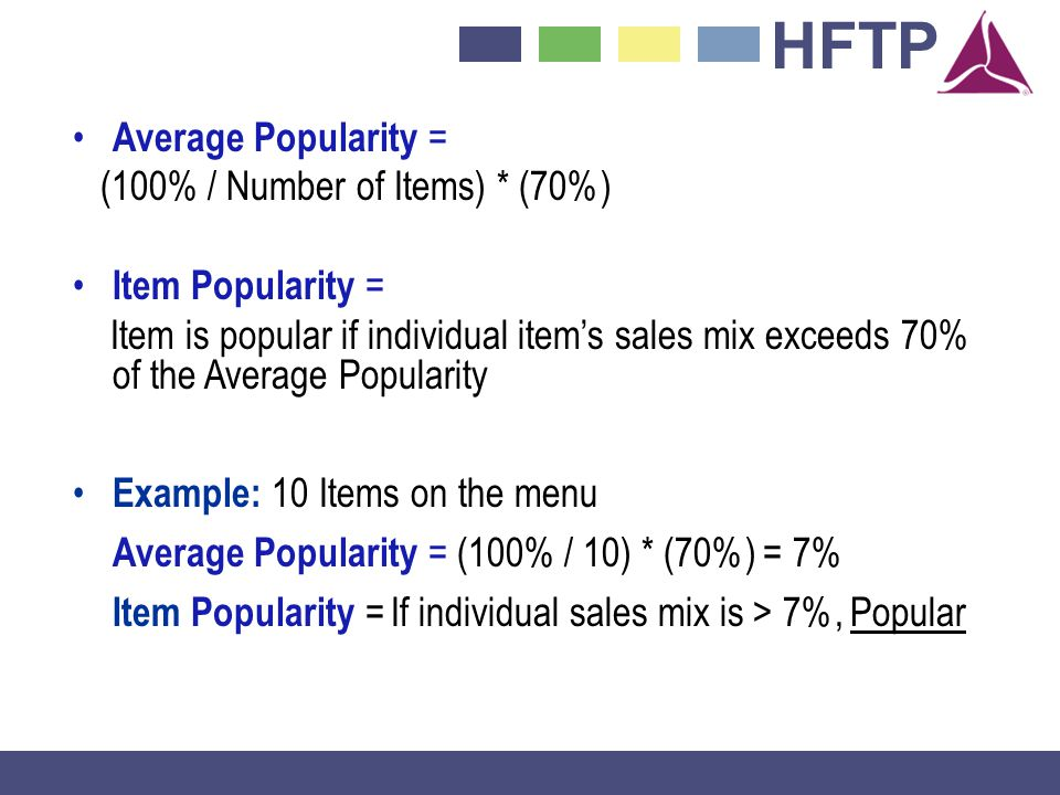 Average Popularity = (100% / Number of Items) * (70%) Item Popularity =